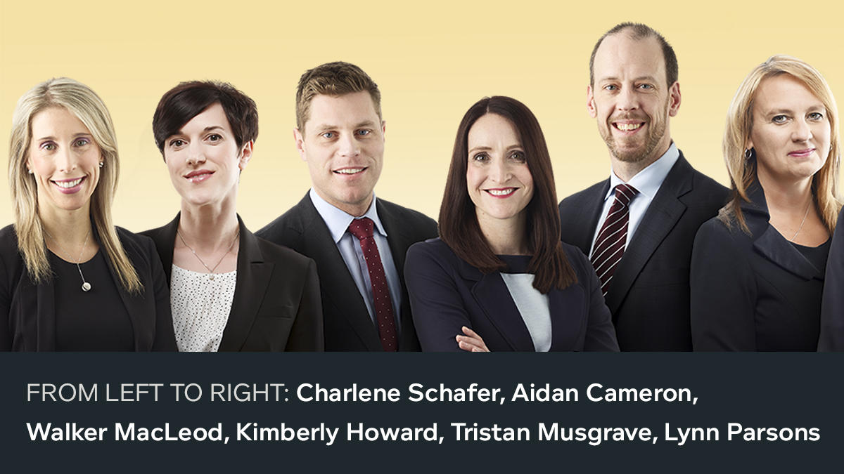First photo of the 18 new 2018 partners. From left to right: Charlene Schafer, Aidan Cameron, Walker MacLeod, Kimberly Howard, Tristan Musgrave, Lynn Parsons