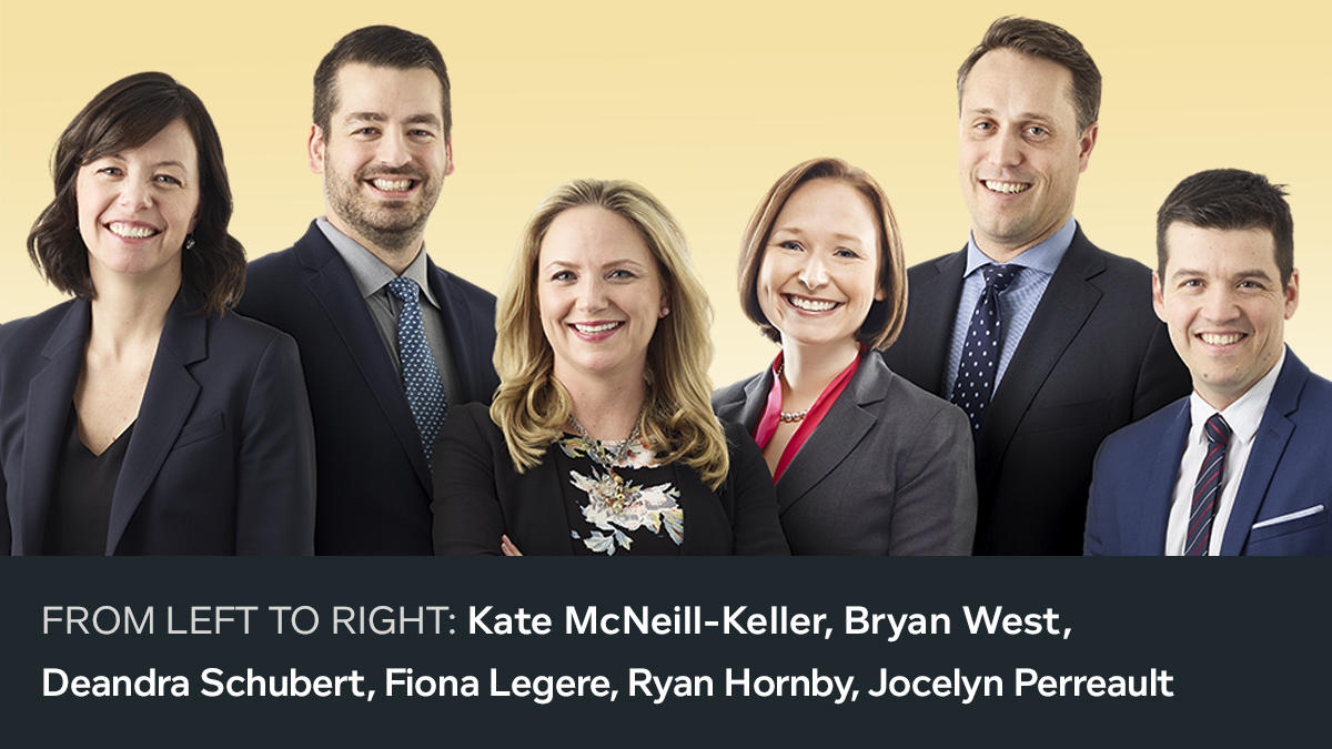 Second photo of the 18 new 2018 partners. From left to right: Kate McNeill-Keller, Bryan West, Deandra Schubert, Fiona Legere, Ryan Hornby, Jocelyn Perreault