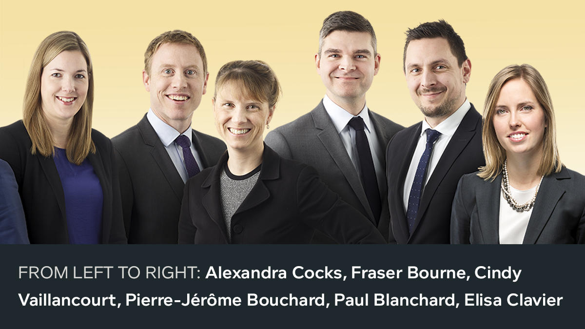 Third photo of the 18 new 2018 partners. From left to right: Alexandra Cocks, Fraser Bourne, Cindy Vaillancourt, Pierre-Jérôme Bouchard, Paul Blanchard, Elisa Clavier