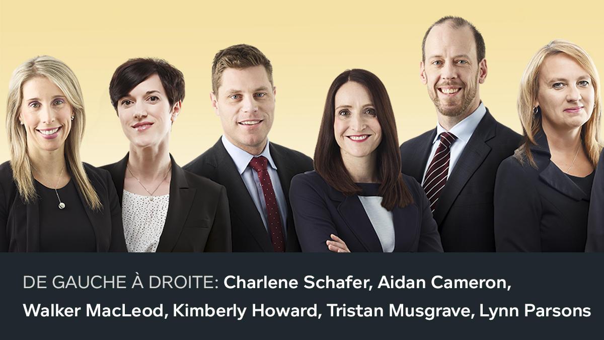 Première photo des nouveaux associés 2018. De gauche à droite: Charlene Schafer, Aidan Cameron, Walker MacLeod, Kimberly Howard, Tristan Musgrave, Lynn Parsons