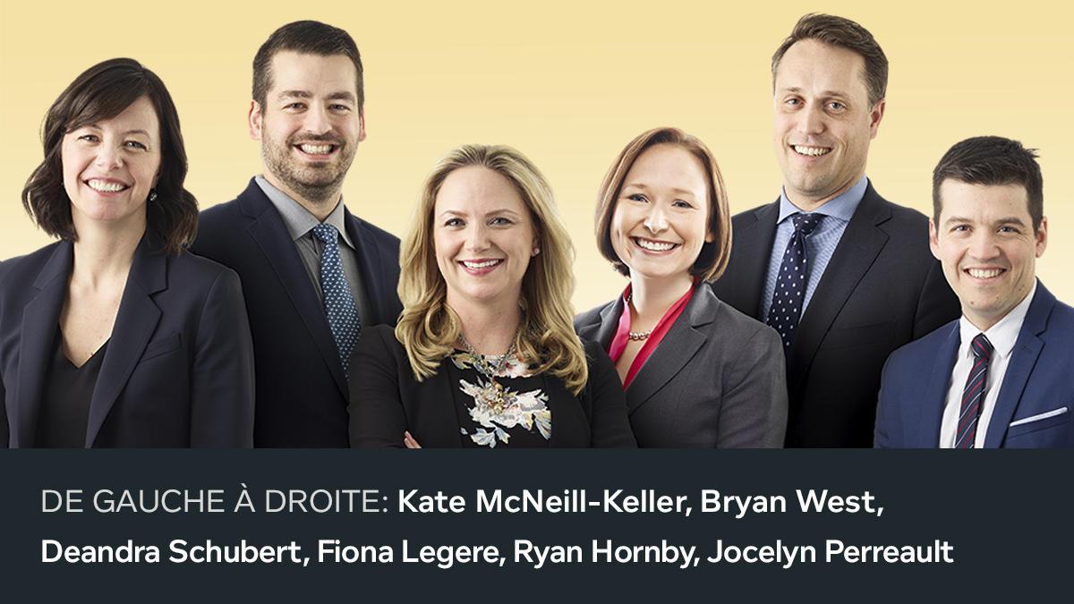 Deuxième photo des nouveaux associés 2018. De gauche à droite: Kate McNeill-Keller, Bryan West, Deandra Schubert, Fiona Legere, Ryan Hornby, Jocelyn Perreault