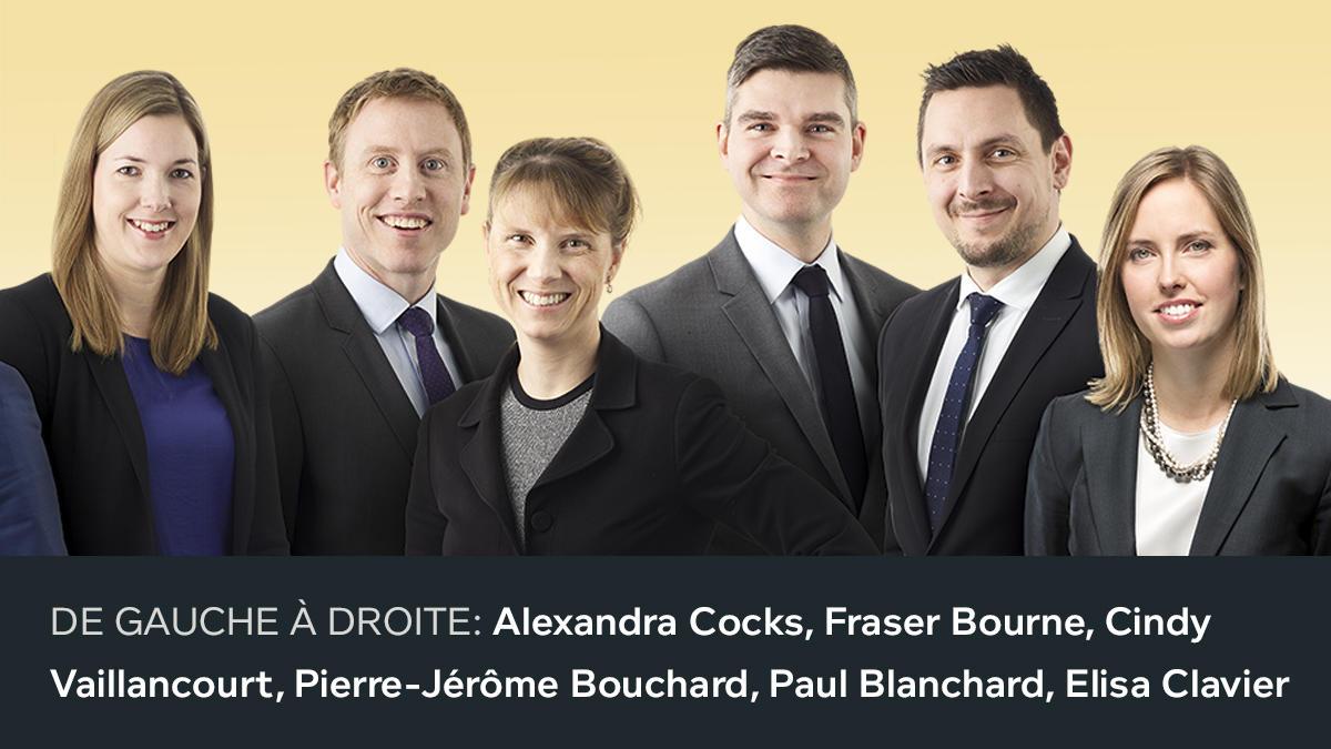Troisième photo des nouveaux associés 2018. De gauche à droite: Alexandra Cocks, Fraser Bourne, Cindy Vaillancourt, Pierre-Jérôme Bouchard, Paul Blanchard, Elisa Clavier