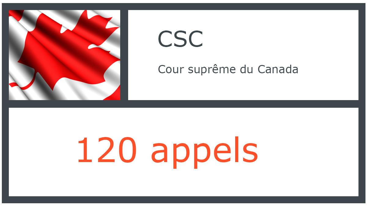 CSC - Cour suprême du Canada - 120 appels