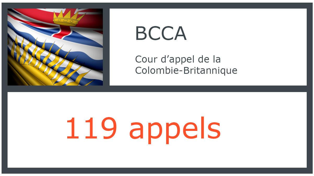 BCCA - Cour d'appel de la Colombie-Britannique - 119 appels