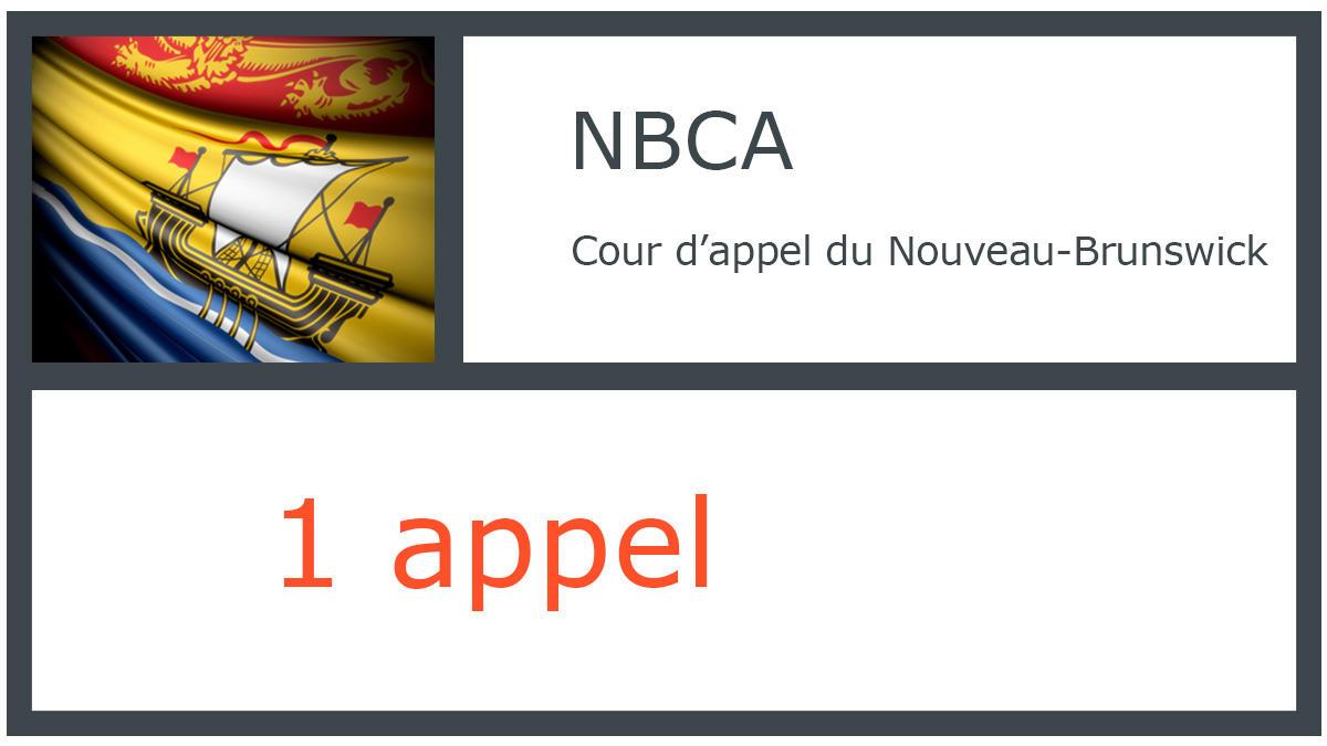 NBCA - Cour d'appel du Nouveau-Brunswick - 1 appel