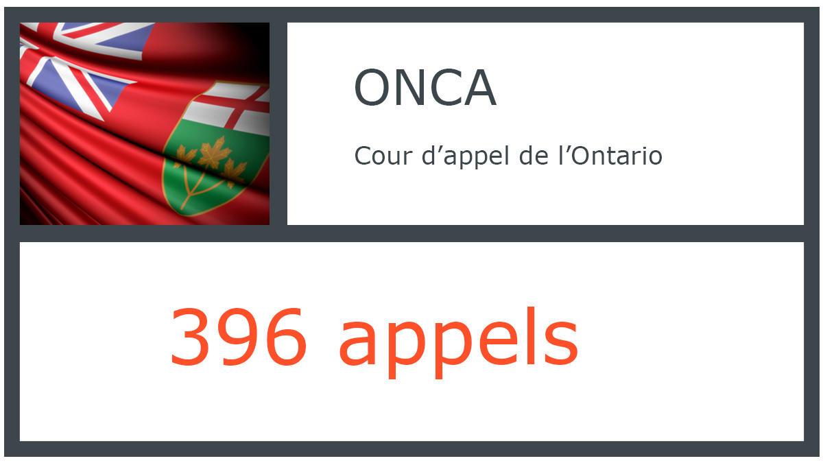 ONCA - Cour d'appel de l'Ontario - 396 appels