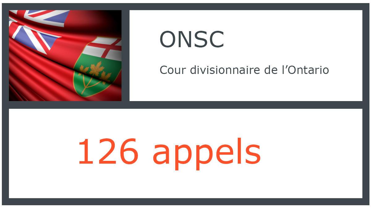 ONSC - Cour d'appel de l'Ontario - 126 appels