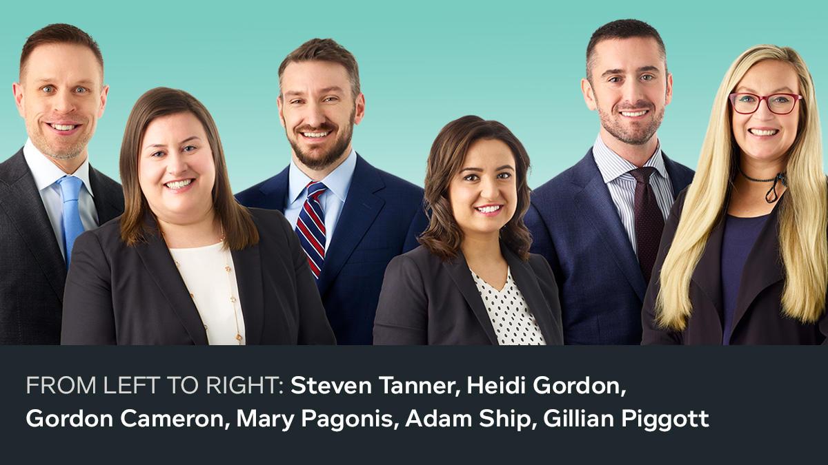FROM LEFT TO RIGHT: Steven Tanner, Heidi Gordon, Gordon Cameron, Mary Pagonis, Adam Ship, Gillian Piggott