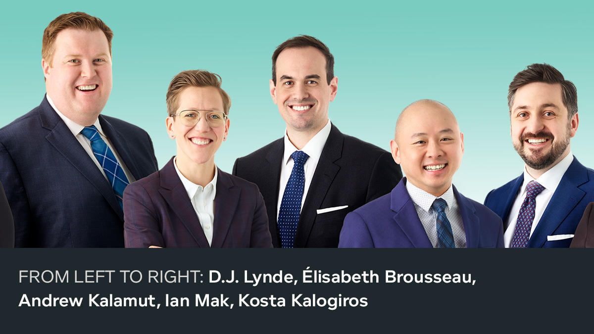 FROM LEFT TO RIGHT: D.J. Lynde, Élisabeth Brousseau, Andrew Kalamut, Ian Mak, Kosta Kalogiros