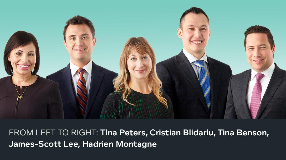 FROM LEFT TO RIGHT: Tina Peters, Christian Blidariu, Tina Benson, James-Scott Lee, Hadrien Montagne