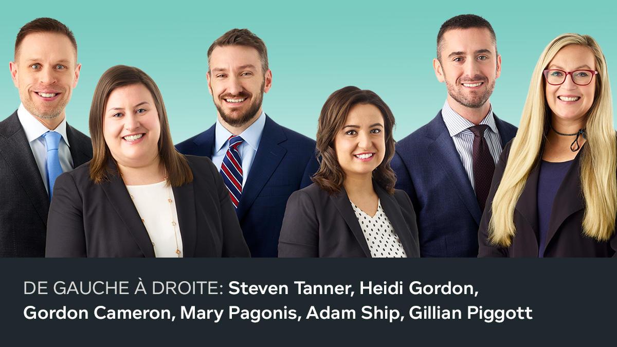 DE GAUCHE À DROITE: STEVEN TANNER, HEIDI GORDON, GORDON CAMERON, MARY PAGONIS, ADAM SHIP, GILLIAN PIGGOTT