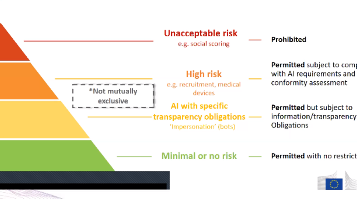 Categorizations of AI, showing levels of risk associated therewith.