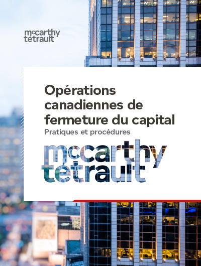 "Image couverture du document ""Opérations canadiennes de fermeture du capital"""
